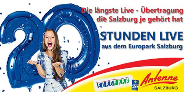 Antenne Salzburg sendet 20 Stunden LIVE aus dem Europark Salzburg