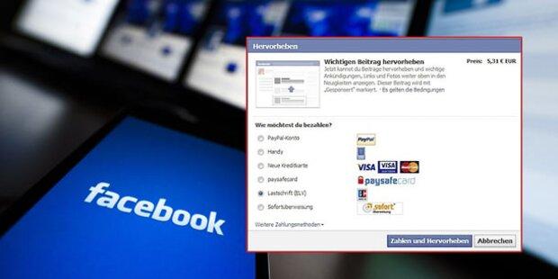 Jetzt verlangt Facebook auch bei uns 5 Euro
