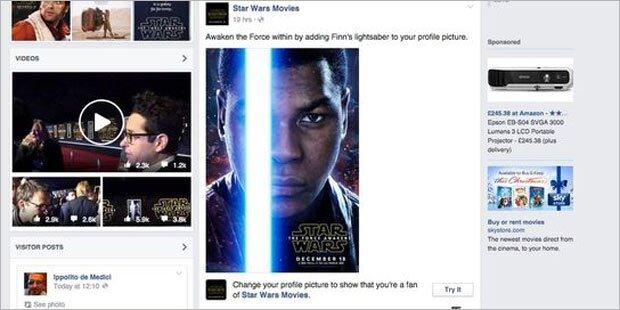 Facebook-Profilbild mit Leuchtschwert
