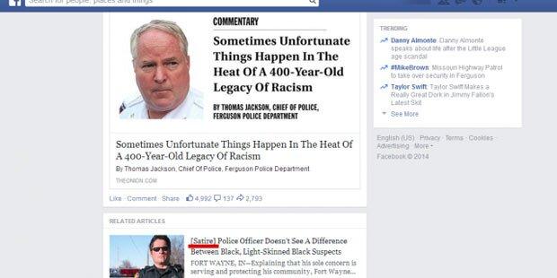 Facebook testet Satire-Hinweis