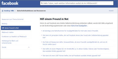 Facebook startet Suizidprävention