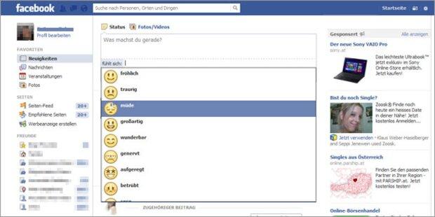 Facebook führt Smiley-Funktion ein