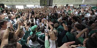 Hunderte Fans empfingen Rapid in Wien