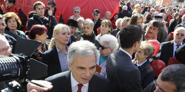 Faymann-Schlussspurt am Viktor-Adler-Markt