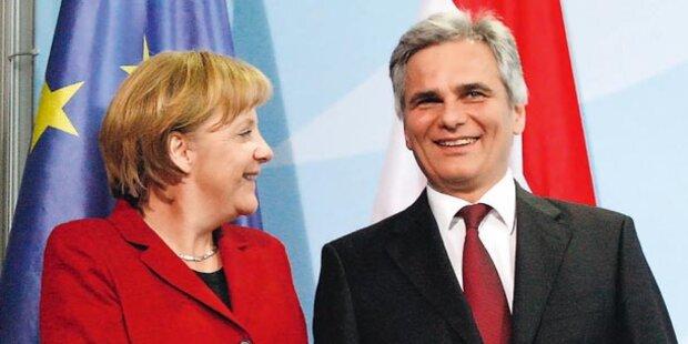 Merkel siegt mit 40%, Faymann mit 27%