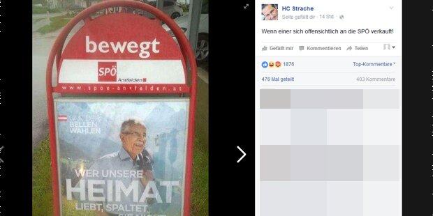 Strache postet VdB-Plakat in SPÖ-Ständer