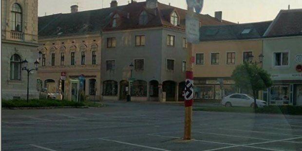 Hakenkreuz-Fahne an Maibaum angebracht
