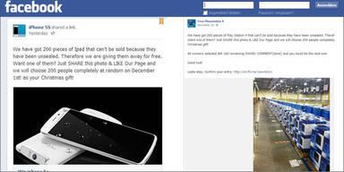 Facebook-Betrug mit PS4 und iPhone 5s