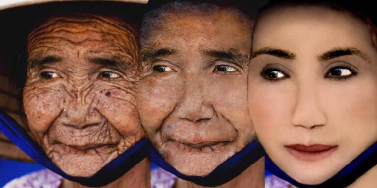 Photoshop verjüngt alte Frau um 80 Jahre