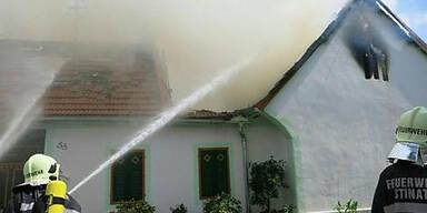 Brand auf Bauernhof im Burgenland
