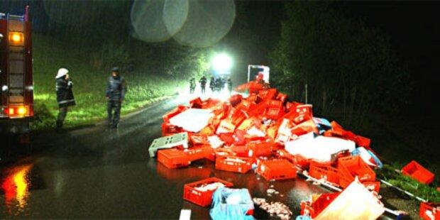 Lkw verlor 20 Tonnen Fleisch