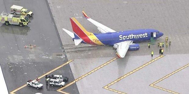 Schock: Flugzeug in USA schlitterte über Landebahn hinaus
