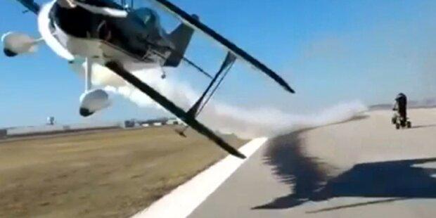 Frau fast von Flugzeug geköpft