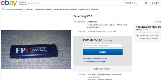 20.000 Euro-Gebot für FPÖ-Feuerzeug