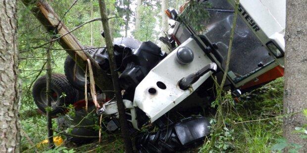 Bauer stürzt mit Traktor 50 Meter ab-tot