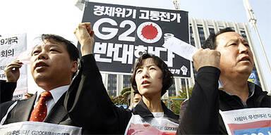 Protest vor dem G20-Gipfel in Seoul