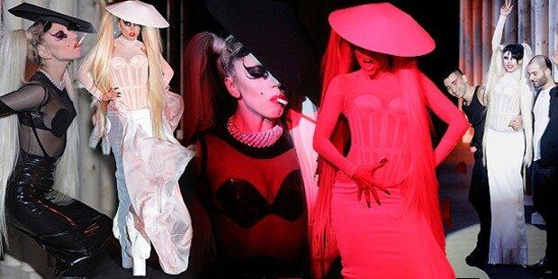 Lady Gaga auf dem Mugler-Catwalk