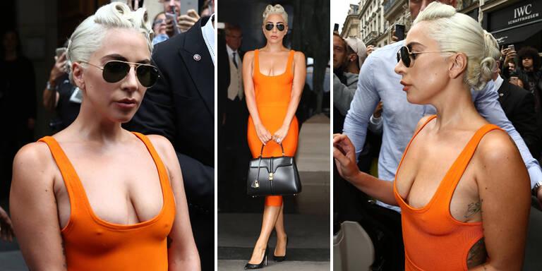 Ups, hier hat Lady Gaga den BH vergessen...