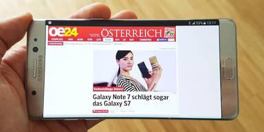 Galaxy Note 7 im großen oe24.at-Test