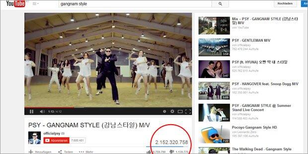 Psy-Hit sprengte YouTube-Zähler