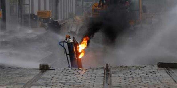 Evakuierung wegen brennender Gasflasche
