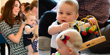 Herzogin Kate mit Baby George in Krabbelgruppe