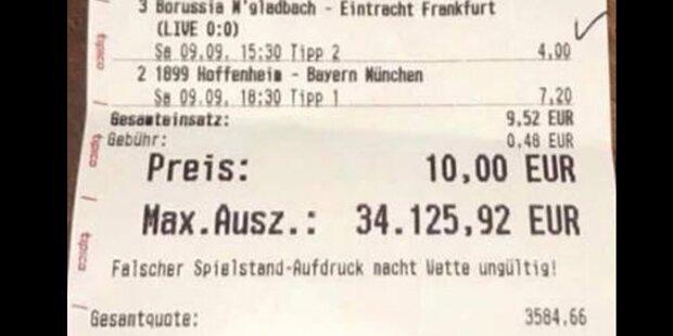 Spieler machte aus 10 Euro über 34.000 Euro