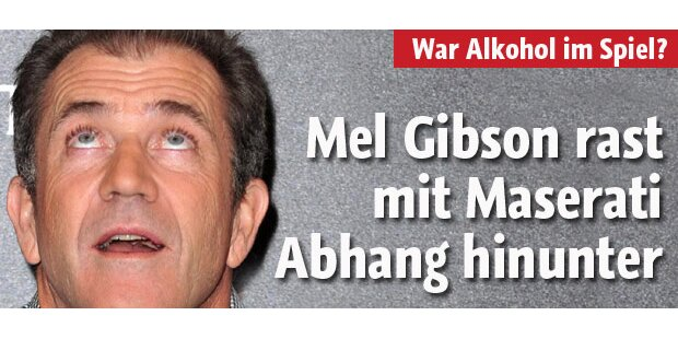Mel Gibson rast Abhang hinunter