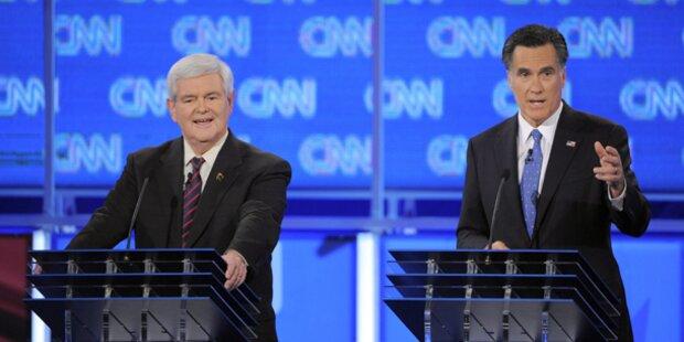 Hitzige Debatte von Romney und Gingrich