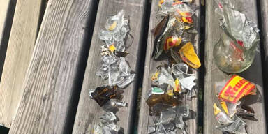 Unbekannte platzierten Glasscherben auf Kinderspielplatz