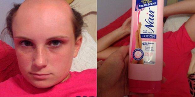 Shampoo mit Enthaarungscreme verwechselt