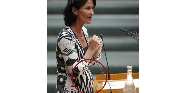 Mit Babybauch im Parlament