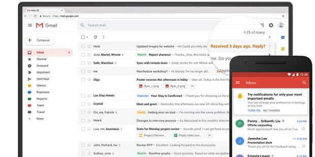 Google verpasst GMail ein großes Update