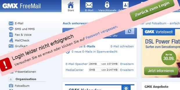 Total-Ausfall bei GMX-Webmail