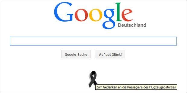 Airbus-Absturz: Google mit Trauerschleife