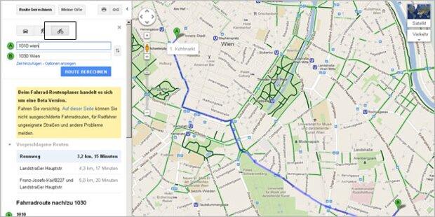 Google Maps navigiert jetzt auch Radfahrer