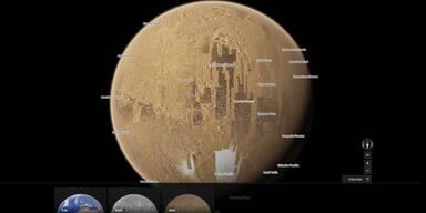 Mit Google Maps auf Mond und Mars