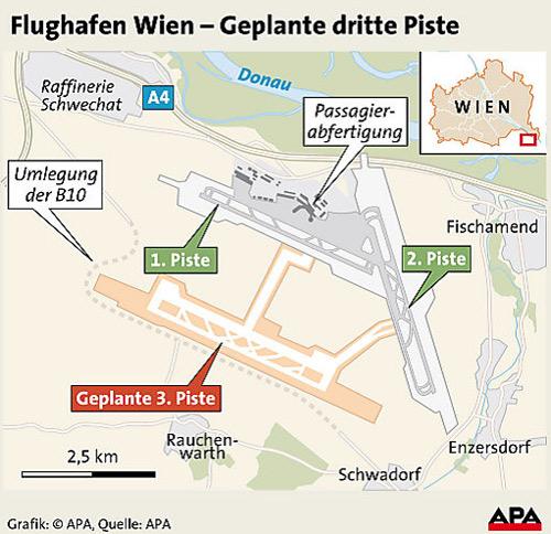 Grafik Flughafen Wien, Piste drei
