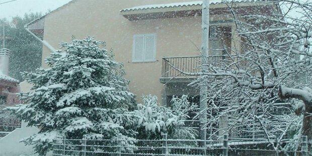 Schneefall jetzt sogar in Griechenland