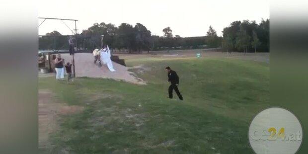 Hochzeitscrash: Bräutigam rammt Braut