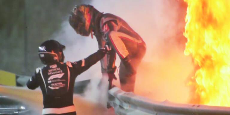 Grosjean über seinen Unfall: 'Habe Tod kommen gesehen'