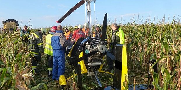 Klein-Hubschrauber streift Stromleitung