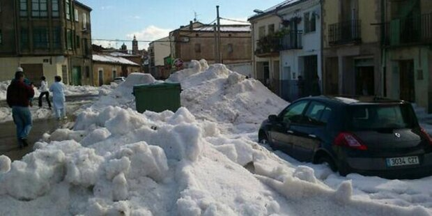 Spanien ist weiß wie im Winter