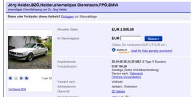 eBay stoppt Haider-Auktion