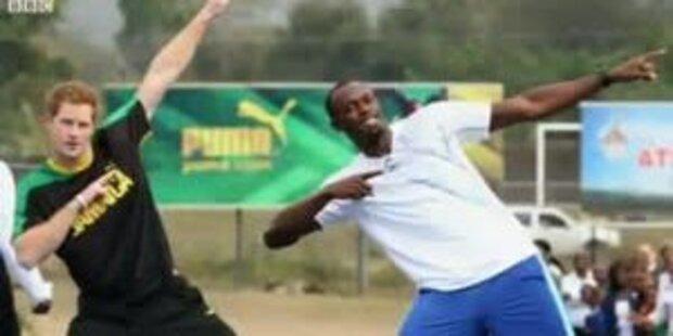 Prinz Harry schlägt Weltrekordler Usain Bolt