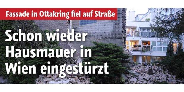 Wieder Hausmauer in Wien eingestürzt