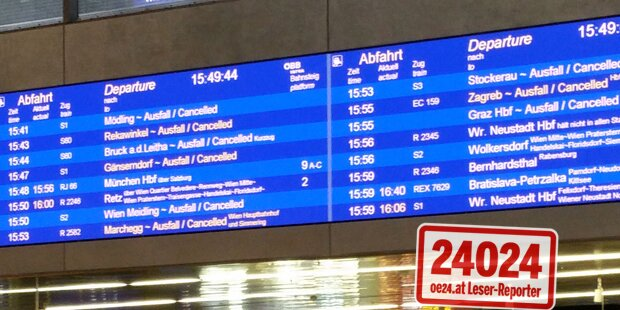 Schnee-Chaos: Zugausfälle bei den ÖBB