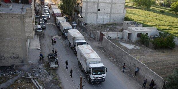 Größte Hilfslieferung in Syrien angekommen