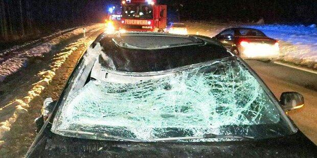 Auto rast in Hirsch - Beifahrerin verletzt