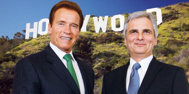 Faymann besucht Arnie in Kalifornien